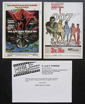 Roger Moore, Sean Connery, SIGNED Postcards, Dr. No, Ian Fleming, James Bond