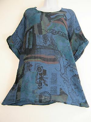 1 PLUS SIZE LAGENLOOK 100/% LINEN S//SLV TOP//DRESS 5 COLS SIZES LARGE XLARGE 2