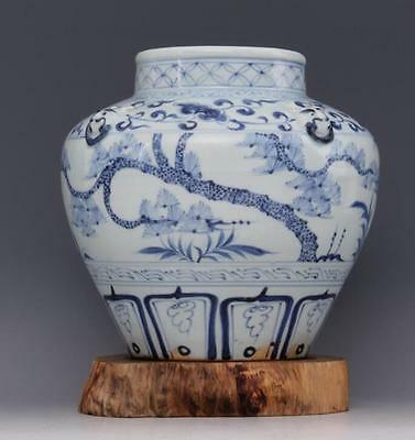 chinese ancient Blue and white porcelain sculpture tree dog head tank