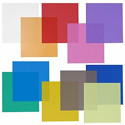 "Neewer 12x12"" Transparent Color Gel Filter Set Pack of 11 Sheets for Photo Blue,"