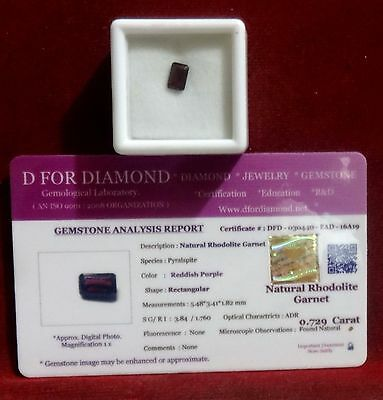 0.729 Ct. Natural Lab Certified Loose Gemstone Rhodolite Garnet free certificate