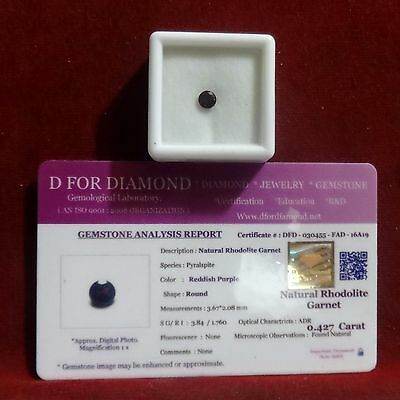 0.427 Ct. Natural Lab Certified Loose Gemstone Rhodolite Garnet free certificate