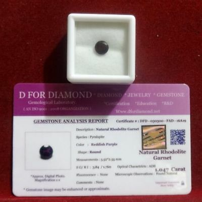 1.047 Ct. Natural Lab Certified Loose Gemstone Rhodolite Garnet free certificate