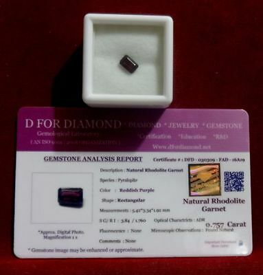 0.757 Ct. Natural Lab Certified Loose Gemstone Rhodolite Garnet free certificate