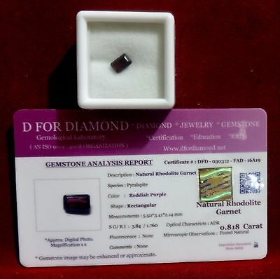 0.818 Ct. Natural Lab Certified Loose Gemstone Rhodolite Garnet free certificate