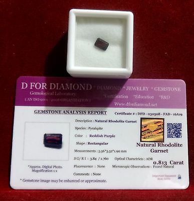 0.813 Ct. Natural Lab Certified Loose Gemstone Rhodolite Garnet free certificate