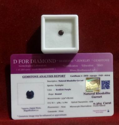 0.364 Ct. Natural Lab Certified Loose Gemstone Rhodolite Garnet free certificate