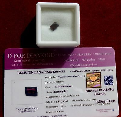 0.864 Ct. Natural Lab Certified Loose Gemstone Rhodolite Garnet free certificate