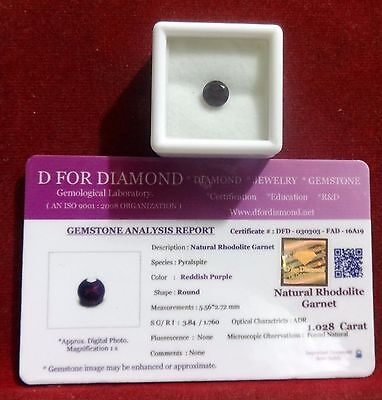 1.028 Ct. Natural Lab Certified Loose Gemstone Rhodolite Garnet free certificate