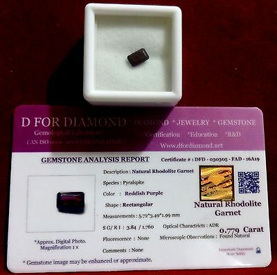0.779 Ct. Natural Lab Certified Loose Gemstone Rhodolite Garnet free certificate