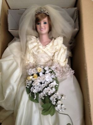 "DANBURY MINT 19"" Wedding Dolls PRINCE CHARLES & PRINCESS DIANA  & certificates"