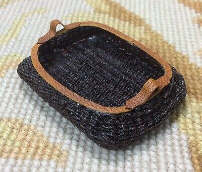 Pat Tyler Dollhouse Miniature Wicker Basket With Leather Trim P146