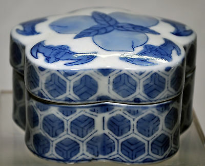 Vintage Chinese Blue White Porcelain  Box  Hand Painted 350-101207