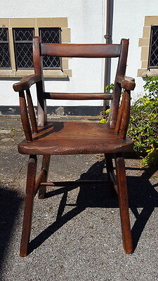Old Vernacular Elm Windsor Chair Staked Construction Bar Back & Serpentine Arms