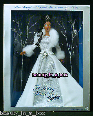 """2003 AA Holiday Visions Winter Fantasy Barbie Doll African American NRFB """""""
