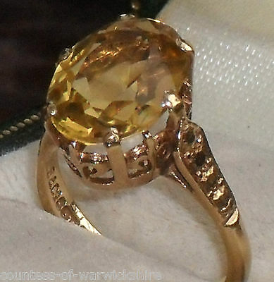 FINEST ART DECO 3.00ct OVAL CUT GOLDEN CITRINE SOLITAIRE 9ct GOLD VINTAGE RING