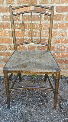 Very Pretty Antique Edwardian Rush Seat Bedroom/Hall Chair with Inlaid Spindles