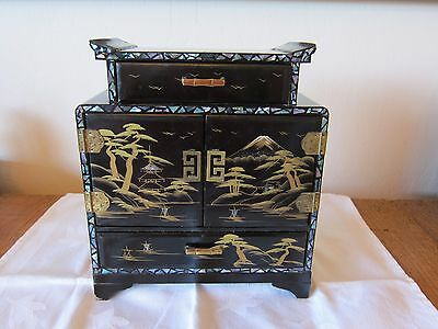 VINTAGE JAPANESE LACQUERED DANCING GEISHA MUSICAL JEWELRY BOX with ABALONE INLAY