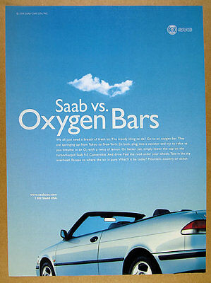 1999 Saab 9-3 Convertible blue car photo vintage print Ad