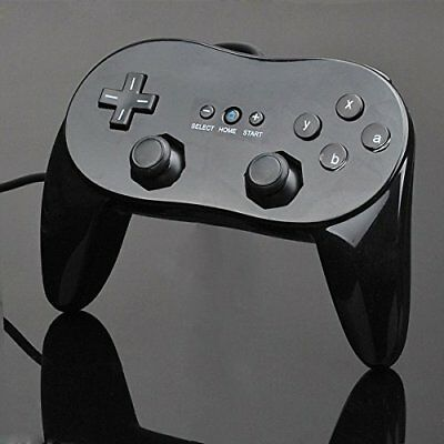 2PCS BLACK Classic Joypad Pro Wired Controller Remote for Wii&Wii U Console