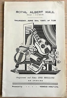 JOSE ITURBI Royal Albert Hall 1947 PROGRAMME PIANO RECITAL London