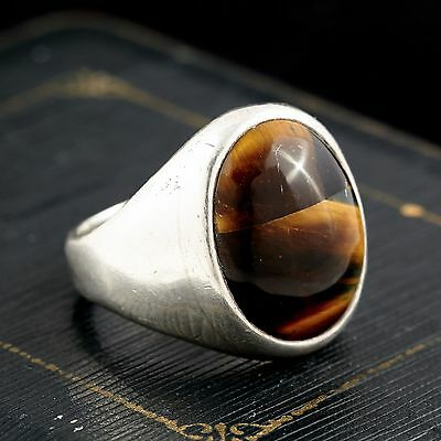 Vintage Designer Sterling Silver Mexican Taxco Tigers Eye Mens Ring! Sz 10.5