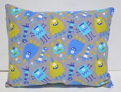"""Monsters Toddler Pillow Throw Travel Toss Cuddle Bed Pillow 10"""" x 13"""" Flannel"""