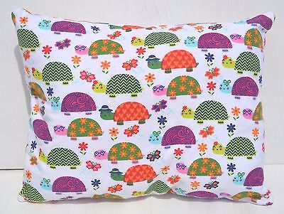 """Turtles Butterfly Toddler Pillow Travel Cuddle Bed Pillow 10"""" x 13"""" Flannel New"""