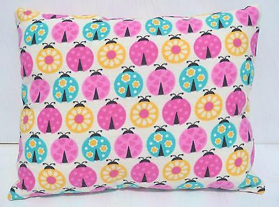"""Lady Bugs Toddler Pillow Throw Travel Cuddle Bed Pillow 10"""" x 13"""" Flannel New"""