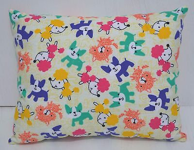 """Puppies Dogs Toddler Pillow Throw Travel Cuddle Bed Pillow 10"""" x 13"""" Flannel New"""