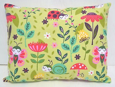 """Lady Bug Snails Toddler Pillow Throw Travel Cuddle Bed Pillow 10"""" x 13"""" Flannel"""