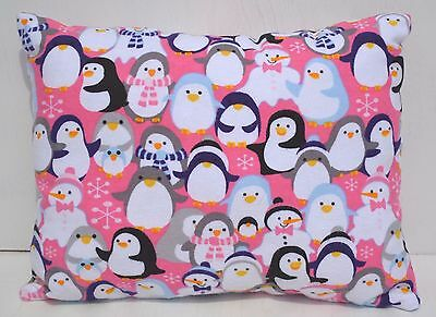 """Penguins Toddler Pillow Throw Travel Cuddle Bed Pillow 10"""" x 13"""" Flannel"""