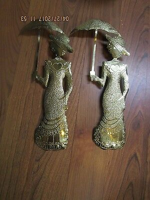 Lot of 2 Vintage Home Interiors Brass Metal Gold Tone Wall Decoration Ladies