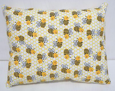 """Honey Bee Toddler Pillow Throw Travel Cuddle Bed Pillow 10"""" x 13""""  New Flannel"""