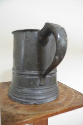 Georgian Pewter Tankard 1 pint touchmark antique