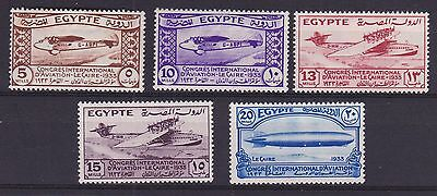 Egypt 1933 Mint MLH Full Set 5 values Aviation Congress Cairo Planes SG214-18