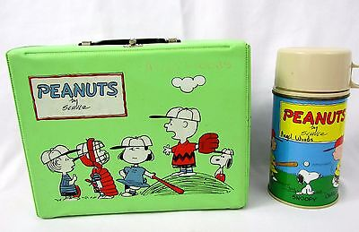 Vtg 1965 Thermos SNOOPY PEANUTS Green Vinyl Complete Lunchbox & Thermos
