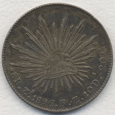1896 8 REALES Zs FZ MEXICO PROOF LIKE LOVELY TONED AU ORIGINAL ESTATE COIN