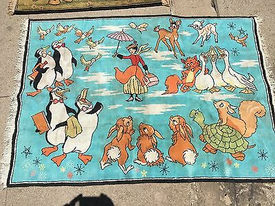 "Mary Poppins Vintage Disney rug 40"" x 60""  bright colors  fair condition."
