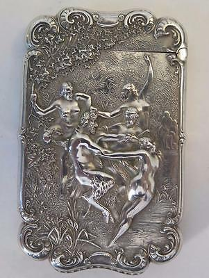 Antique Sterling Silver Pan w/ Nude Nymphs Match Safe Holder Attr. WB Kerr