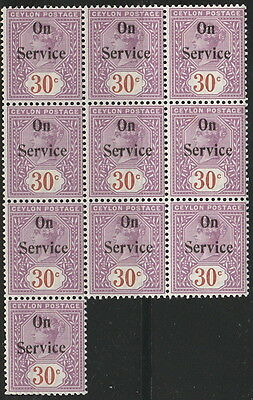 Ceylon SG O16 30c bright mauve and chestnut Block MNH & MH official on service