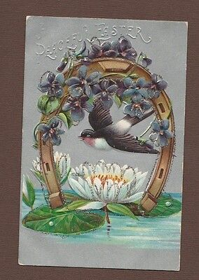 Embossed Silver Trim Easter Postcard Dove Horseshoe Water Lily Floral