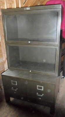 Antique Steel Bookcase File Cabinet Combo 1930S Barrister Bookcase Type