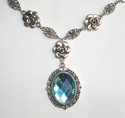 Camellia Filigree Victorian Style Turquoise Acrylic Silver Plated Necklace Cf