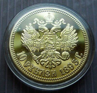 2 different Russian fantasy issue Proof coins with Alexander III & Nicolas II