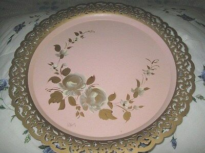 Signed Hand Painted Pink Tole Tray Vintage Country Floral w/ Fancy Gold Rim