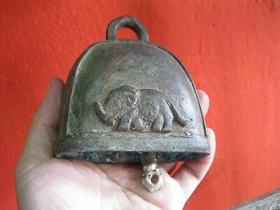 Antique Thai Bell Elephant Buddha Clapper Sound Temple Hanging Décor Collect