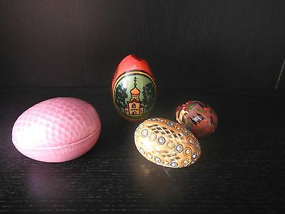 Vintage Handmade Porcelain, Clay and Hand Painted Wooden Eggs Lot of 4