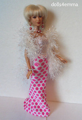 Fashionistas Barbie Doll Clothes handmade TOP SKIRT BOA & JEWELY Fashion NO DOLL