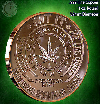 """""""Hit It"""" with """"Pass"""" on the back 1 oz .999 Copper Limited & Rare"""